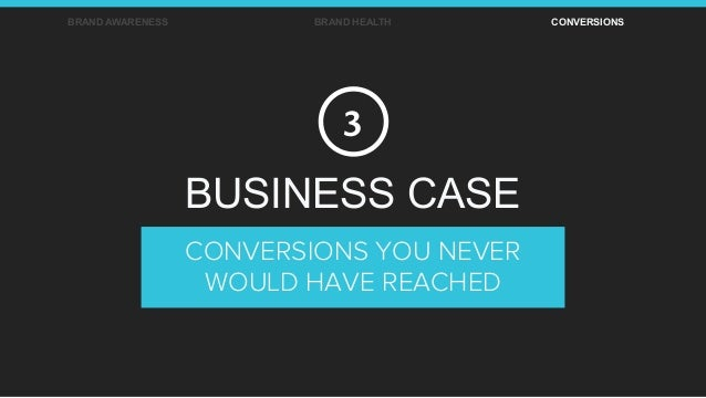 BRAND AWARENESS BRAND HEALTH CONVERSIONS CONVERSIONS YOU NEVER WOULD HAVE REACHED BUSINESS CASE 3