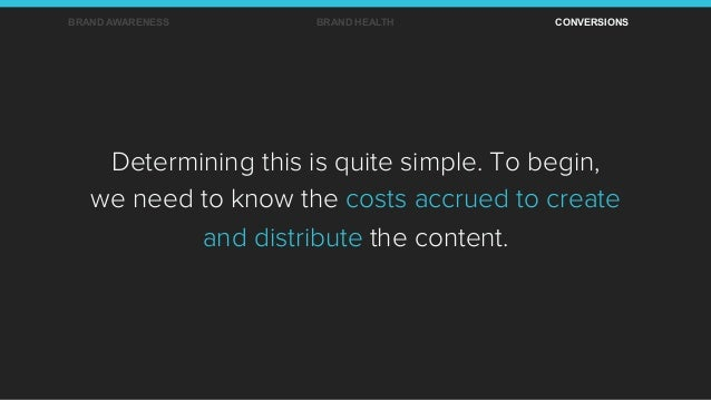 Determining this is quite simple. To begin, we need to know the costs accrued to create and distribute the content. BRAND ...