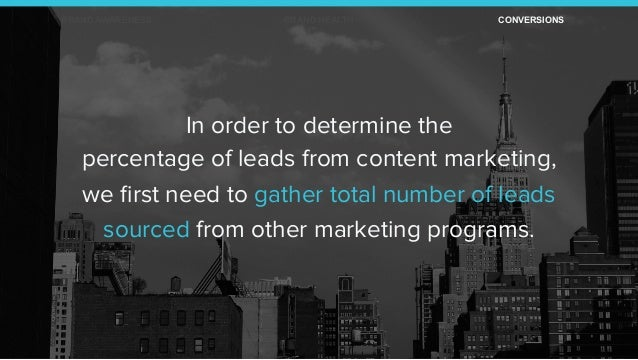 In order to determine the percentage of leads from content marketing, we first need to gather total number of leads sourced...