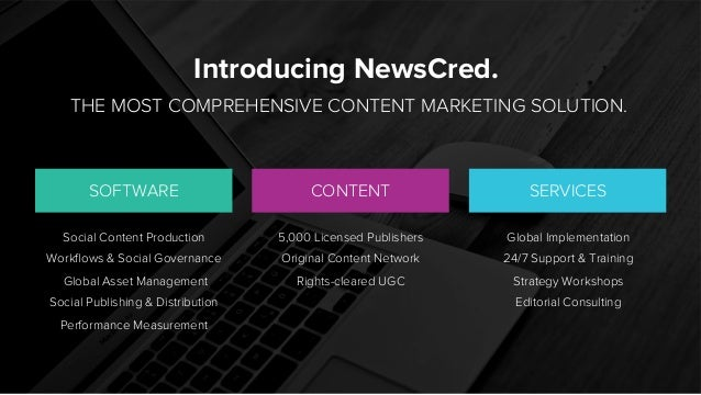 Introducing NewsCred. THE MOST COMPREHENSIVE CONTENT MARKETING SOLUTION. SOFTWARE SERVICESCONTENT Social Content Productio...