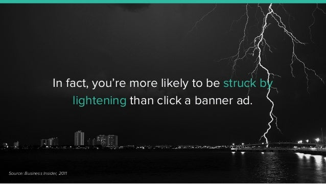 In fact, you're more likely to be struck by lightening than click a banner ad. Source: Business Insider, 2011