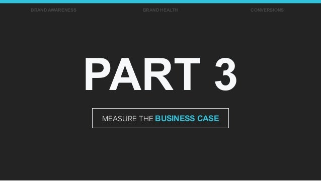 PART 3 MEASURE THE BUSINESS CASE BRAND AWARENESS BRAND HEALTH CONVERSIONS