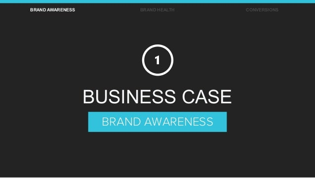 BRAND AWARENESS BRAND HEALTH CONVERSIONS BRAND AWARENESS BUSINESS CASE 1