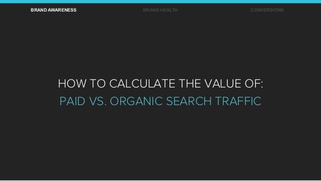 BRAND AWARENESS BRAND HEALTH CONVERSIONS HOW TO CALCULATE THE VALUE OF: PAID VS. ORGANIC SEARCH TRAFFIC