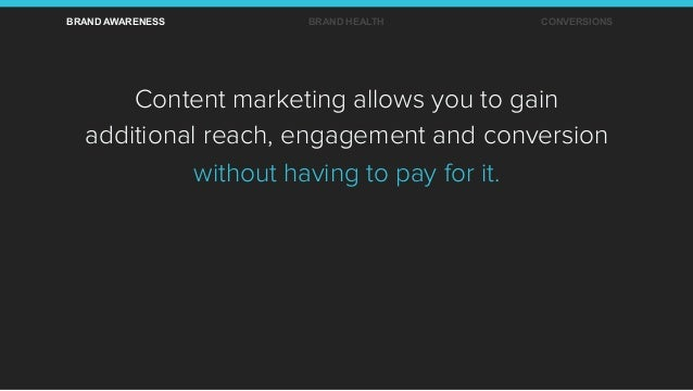 Content marketing allows you to gain additional reach, engagement and conversion without having to pay for it. BRAND AWARE...