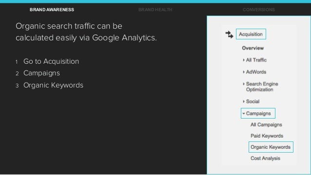 Organic search traffic can be calculated easily via Google Analytics. BRAND AWARENESS BRAND HEALTH CONVERSIONS 1  Go to Acqu...