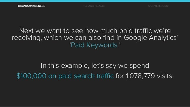 Next we want to see how much paid traffic we're receiving, which we can also find in Google Analytics' 'Paid Keywords.' In th...
