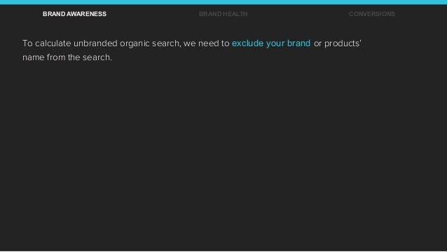 To calculate unbranded organic search, we need to exclude your brand or products' name from the search. BRAND AWARENESS BR...