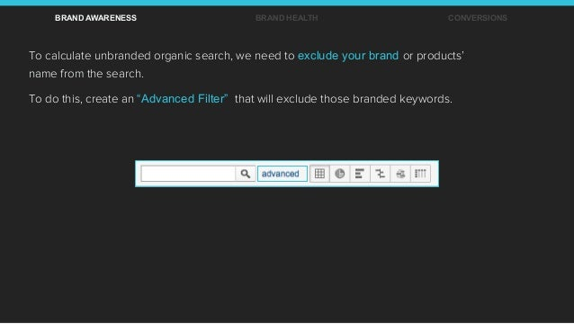 To calculate unbranded organic search, we need to exclude your brand or products' name from the search. To do this, create...