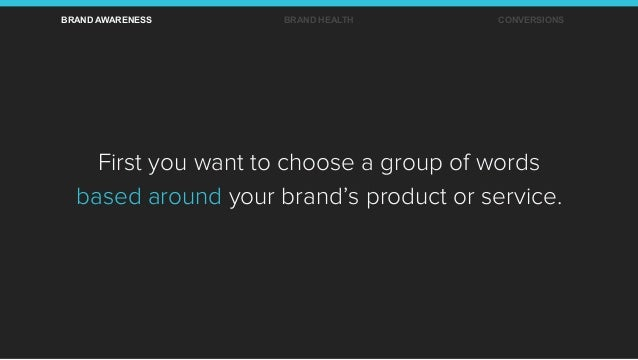 First you want to choose a group of words based around your brand's product or service. BRAND AWARENESS BRAND HEALTH CONVE...