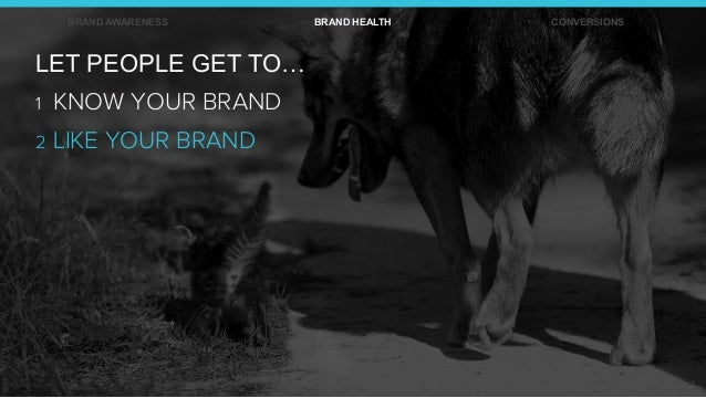 BRAND AWARENESS BRAND HEALTH CONVERSIONS LET PEOPLE GET TO… 1 KNOW YOUR BRAND 2 LIKE YOUR BRAND