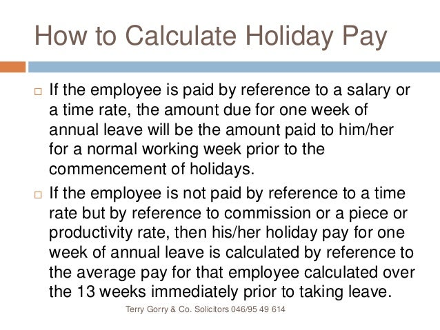 how to calculate entitlements in ireland