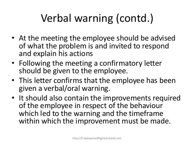 employee verbal warning letter