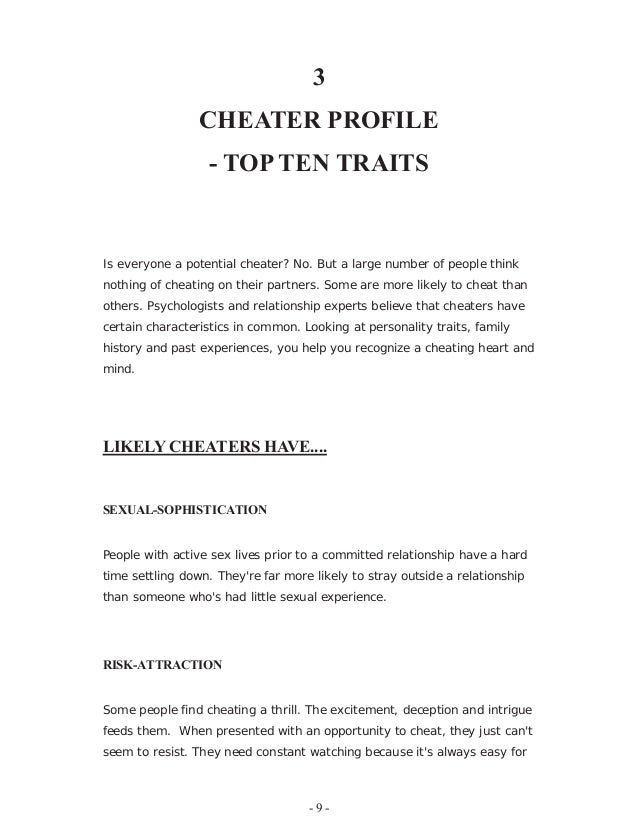 Serial cheaters personality traits