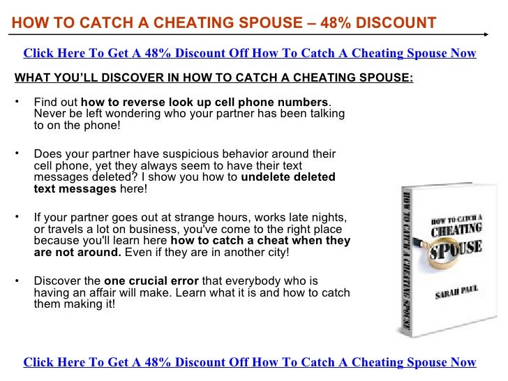 How To Catch A Cheating Spouse Discount