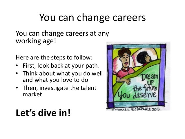 You can change careers You can change careers at any working age! Here are the steps to follow: • First, look back at your...