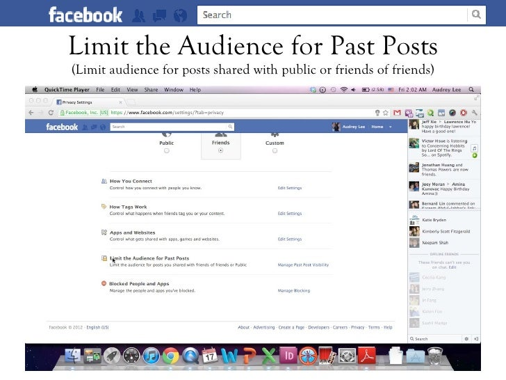 Limit the Audience for Past Posts(Limit audience for posts shared with public or friends of friends)