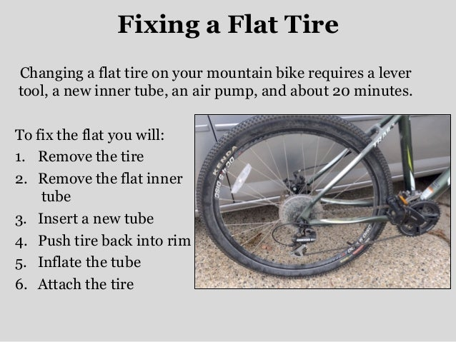 fixing a flat tire essay Sentences #1, #2, and #3 all sound natural to my (bicycle-riding american) ear ( americans use tire, not tyre) i prefer i had a flat or i had a.