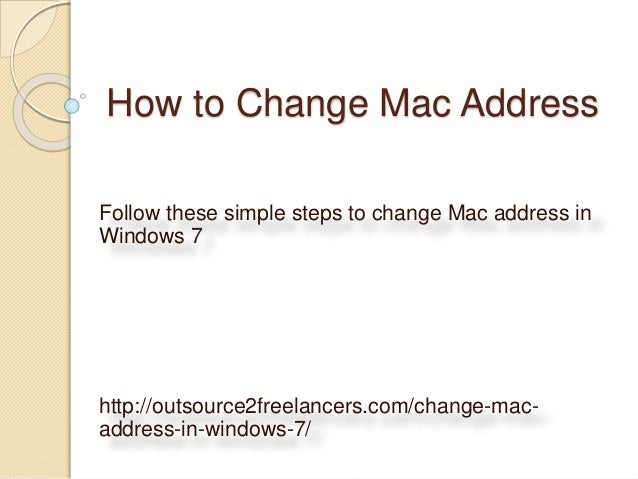 How to change mac address in windows 7 for craigslist