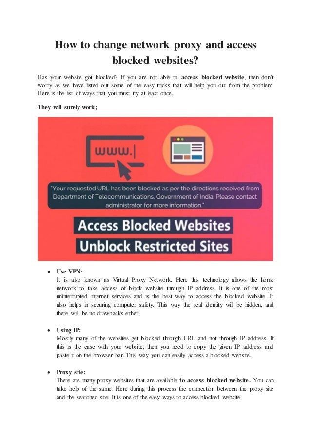 How to change network proxy and access blocked websites