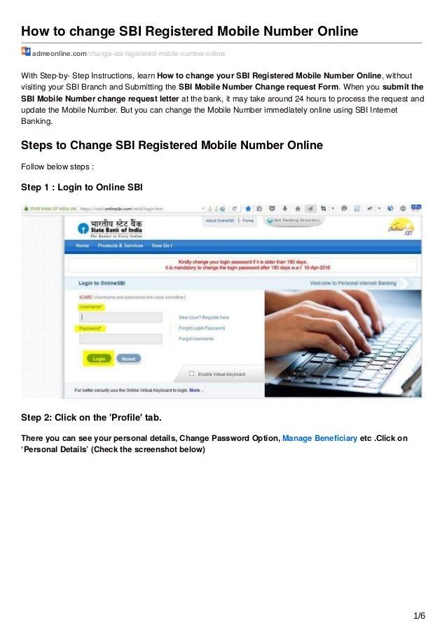 online mobile number registration for sbi account