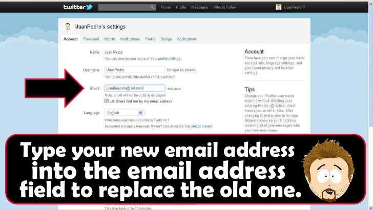 twitter how to change email