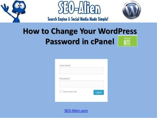 How to Change Your WordPress Password in cPanel SEO-Alien.com