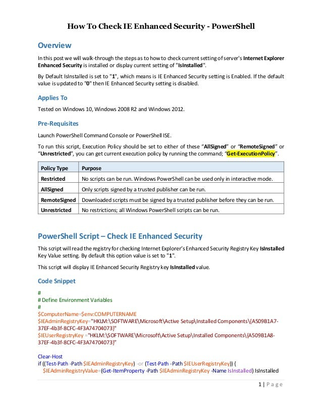 How To Check IE Enhanced Security Is Enabled Windows PowerShell