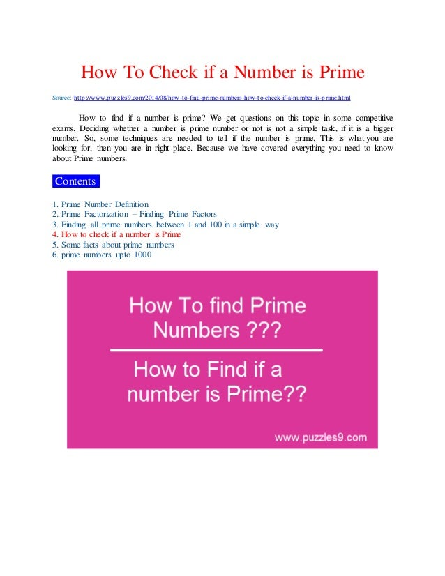 how to find prime numbers and how to check if a number is prime. Black Bedroom Furniture Sets. Home Design Ideas