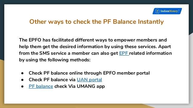 How to check PF balance through SMS?
