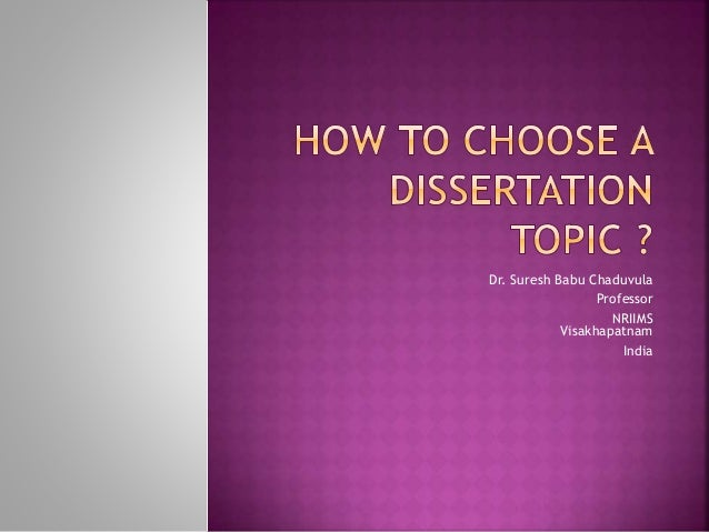 how to choose dissertation topic