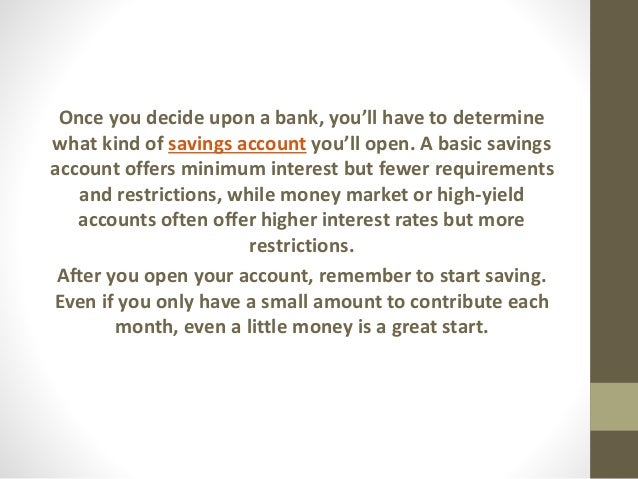how to open an and savings account