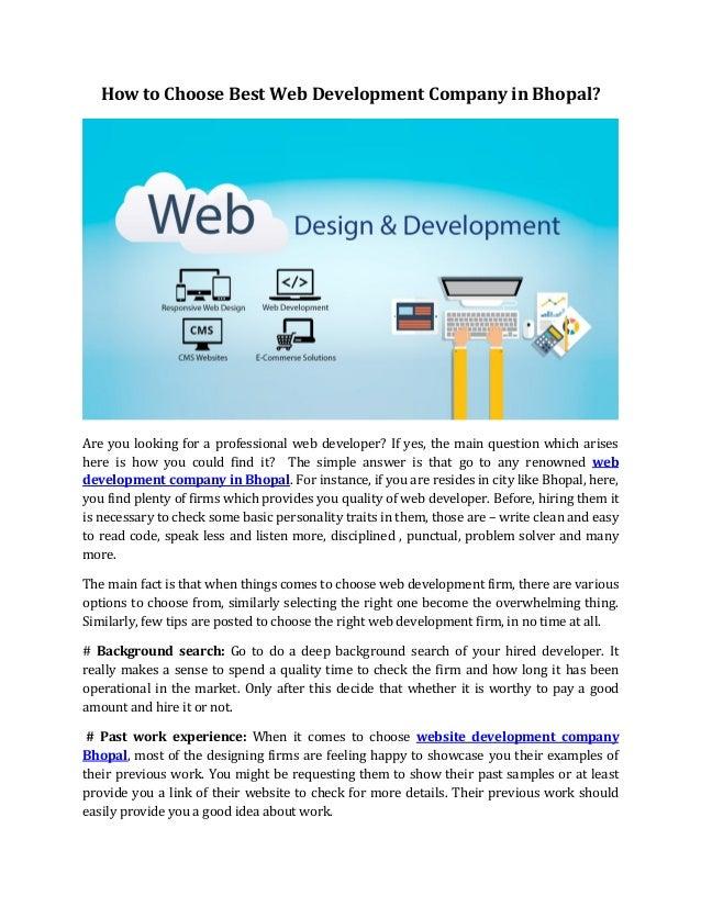 How to choose best web development company in bhopal