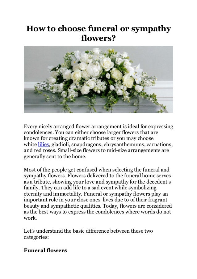 How To Choose Funeral Or Sympathy Flowers