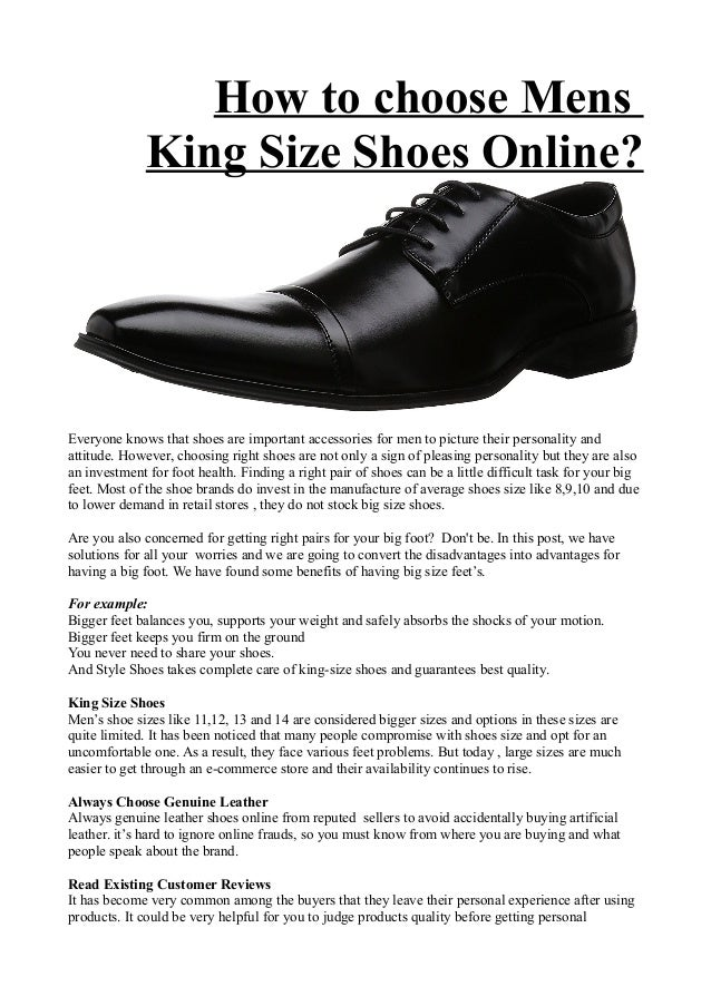 How to choose mens king size shoes online?