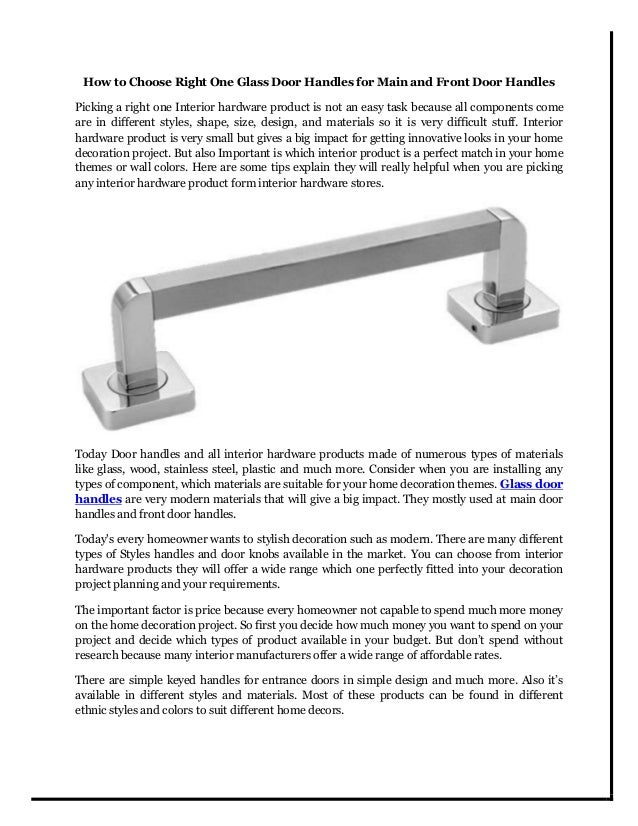 How To Choose Right One Glass Door Handles For Main And Front Door Handles  Picking A ...