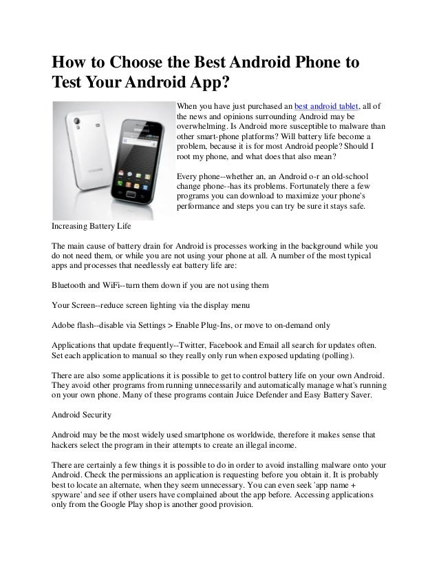 How to choose the best android phone to test your android app