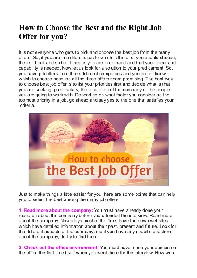 How To Choose The Best And The Right Job Offer For You
