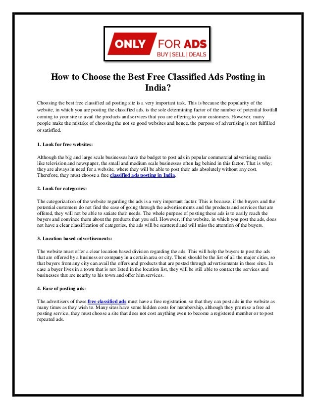 How to choose the best free classified ads posting in india