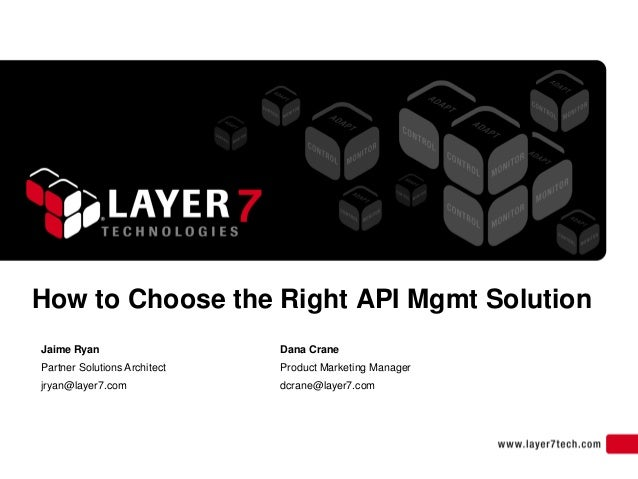 How to Choose the Right API Mgmt SolutionJaime Ryan                    Dana CranePartner Solutions Architect   Product Mar...