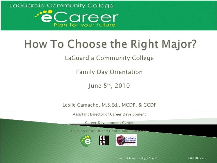 LaGuardia Community College Family Day Orientation June 5 th , 2010 Leslie Camacho, M.S.Ed., MCDP, & GCDF Assistant Direct...