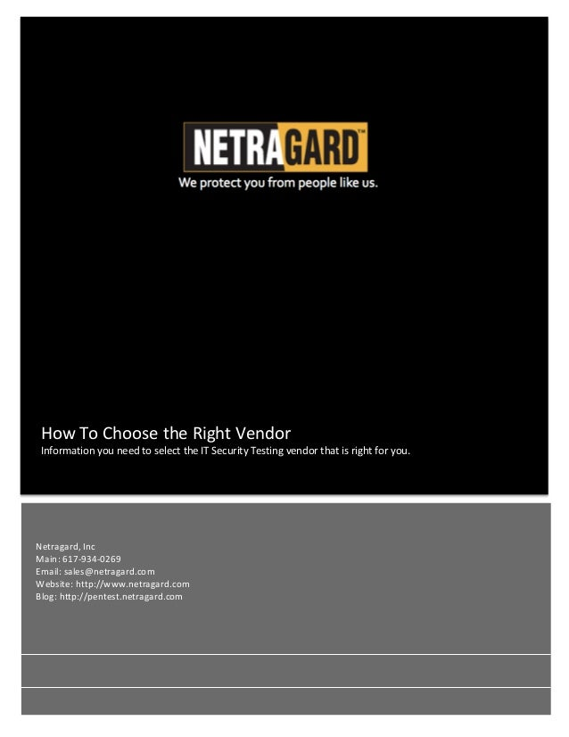 How	   To	   Choose	   the	   Right	   Vendor	   	    Information	   you	   need	   to	   select	   the	 ...