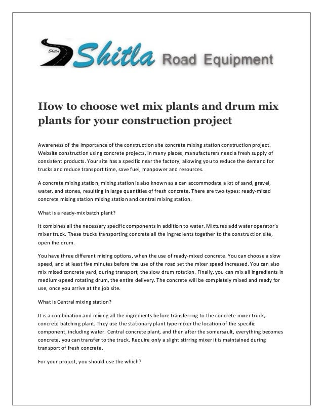 How to choose wet mix plants and drum mix plants for your for How to choose a building contractor