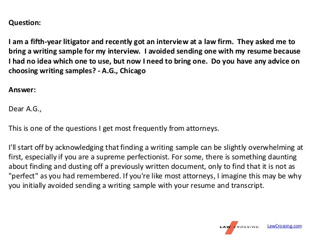 writing sample during interview