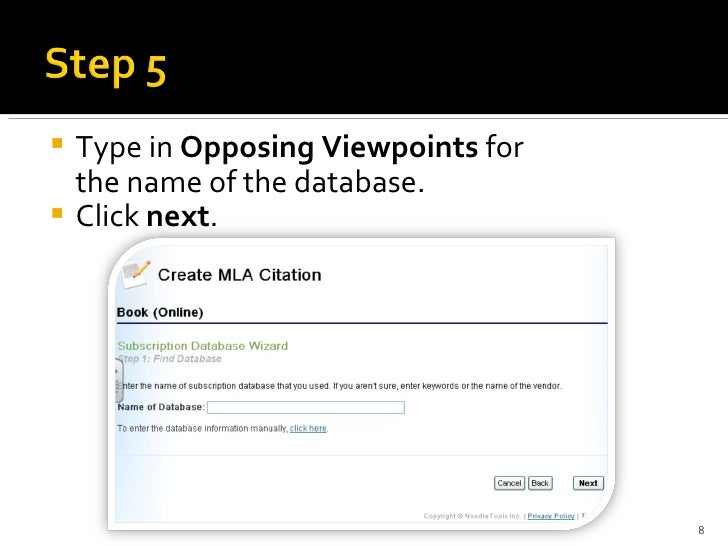 how to cite a gale opposing viewpoints essay in noodletools mla adva   8 <ul><li>type in opposing viewpoints