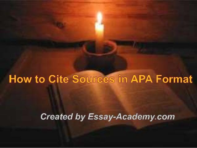 cite sources apa format