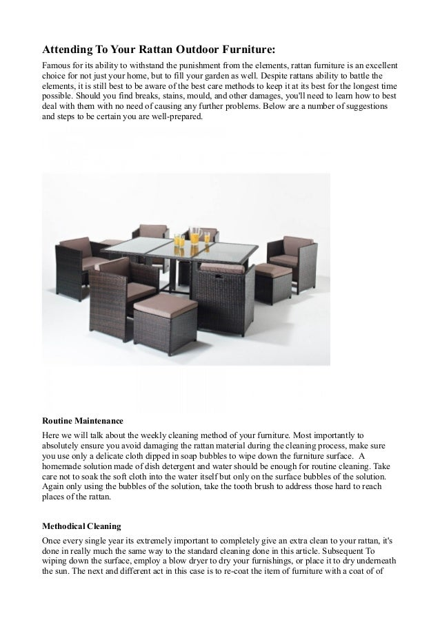 How to clean your rattan furniture pdf