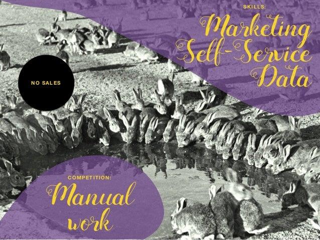 Manual work COMPETITION: Marketing Self-Service Data SKILLS: NO SALES