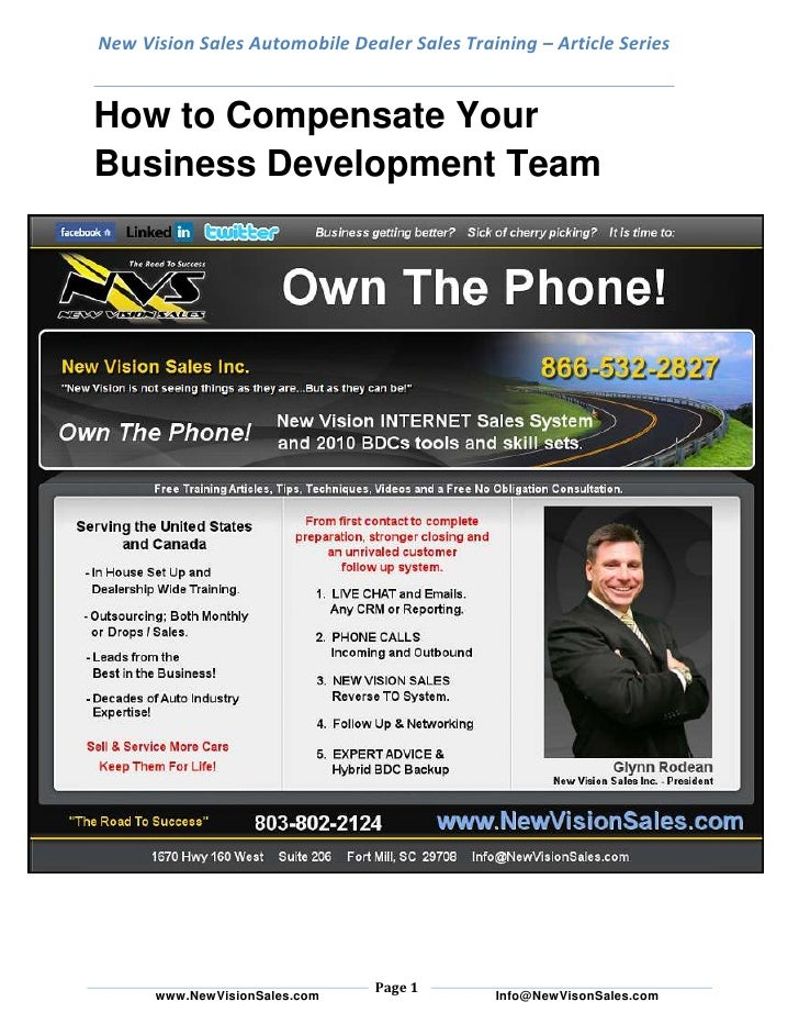 New Vision Sales Automobile Dealer Sales Training – Article SeriesHow to Compensate Your Business Development Team<br />By...