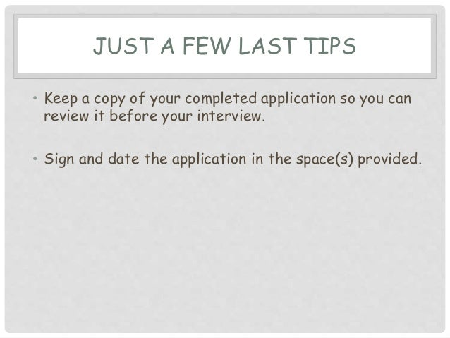 tips on how to fill out a job application